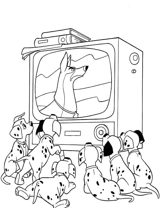 Раскраска 101 далматинец - картинки для разукрашивания, собаки смотрят телевизор. Скачать 101 далматинец.  Распечатать 101 далматинец