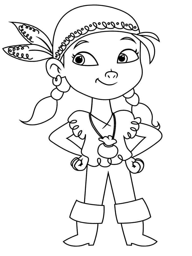 Раскраска  для девочек с Иззи - маленькой пираткой из Нетландии. Скачать Пират.  Распечатать Пират