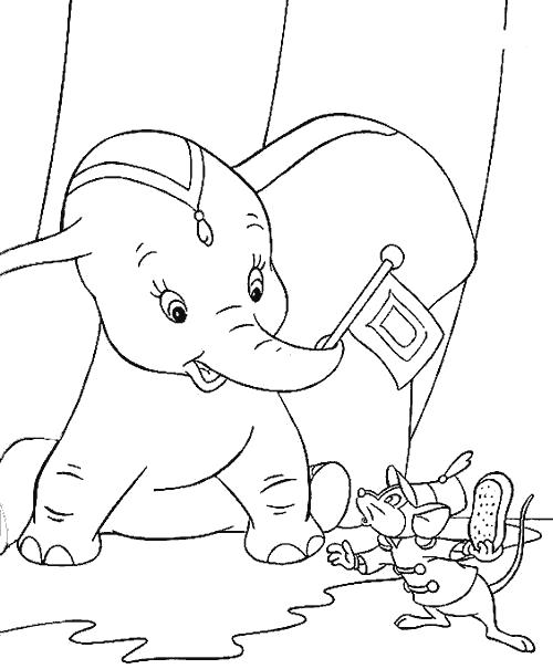 Раскраска Слонёнок и мышка. Скачать Дамбо.  Распечатать Дамбо
