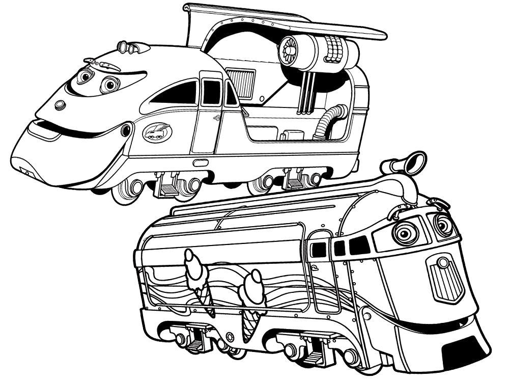 Раскраска  для мальчиков и девочек с Чаггингтон  качай и печатай. Скачать поезд.  Распечатать для мальчиков