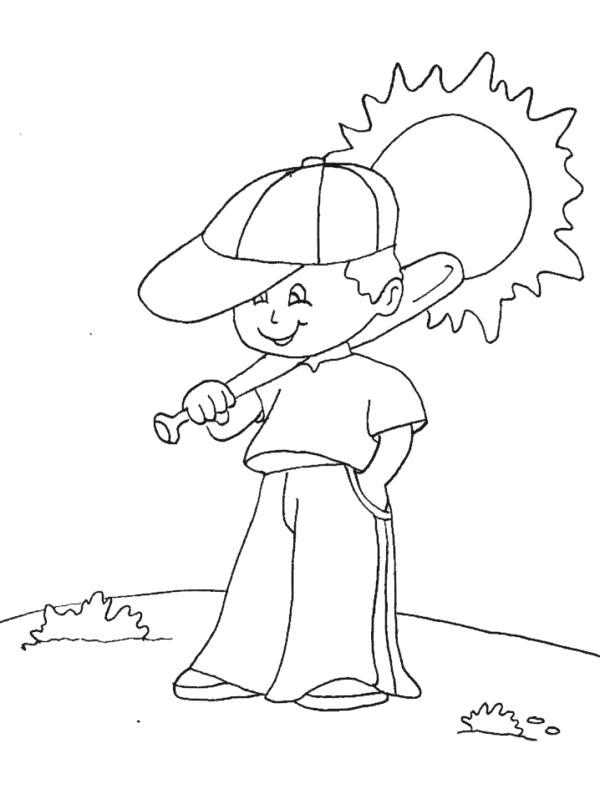 Раскраска мальчик играет в бейсбол. Скачать Лето.  Распечатать Лето