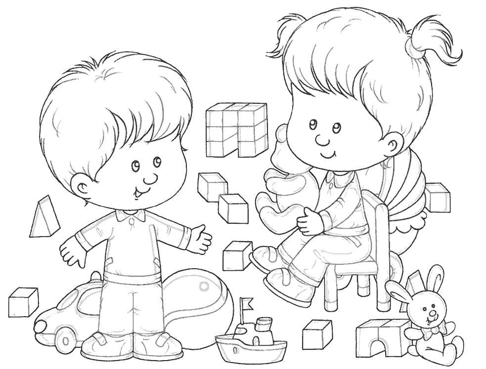 Раскраска мальчик и девочка в детском саде. Скачать .  Распечатать