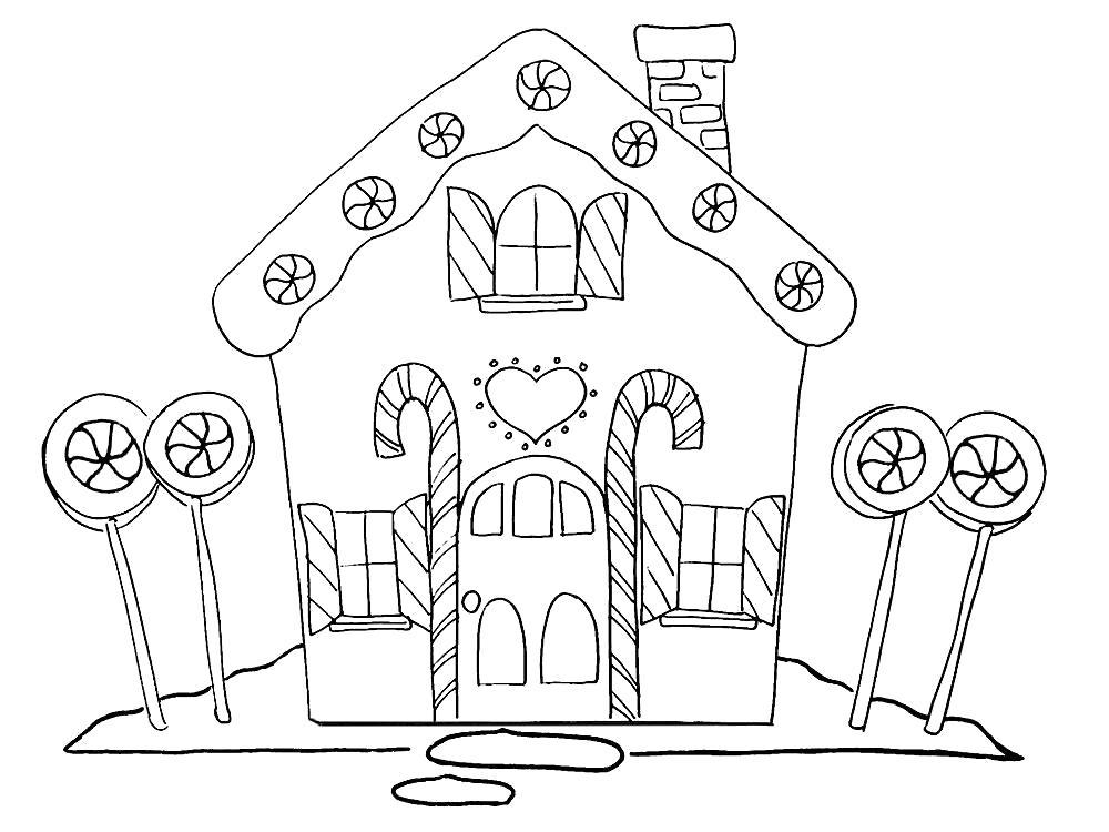 Раскраска Детские  пряничные домики. Скачать Дом.  Распечатать Дом