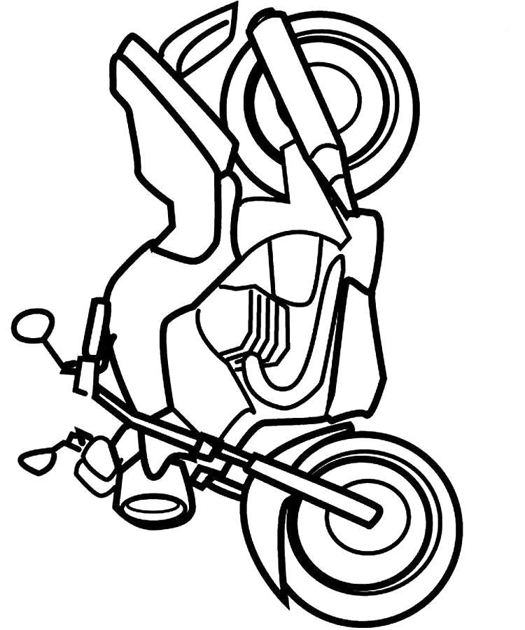 Раскраска Мотоцикл, старый мотоцикл. Скачать Мотоцикл.  Распечатать Мотоцикл