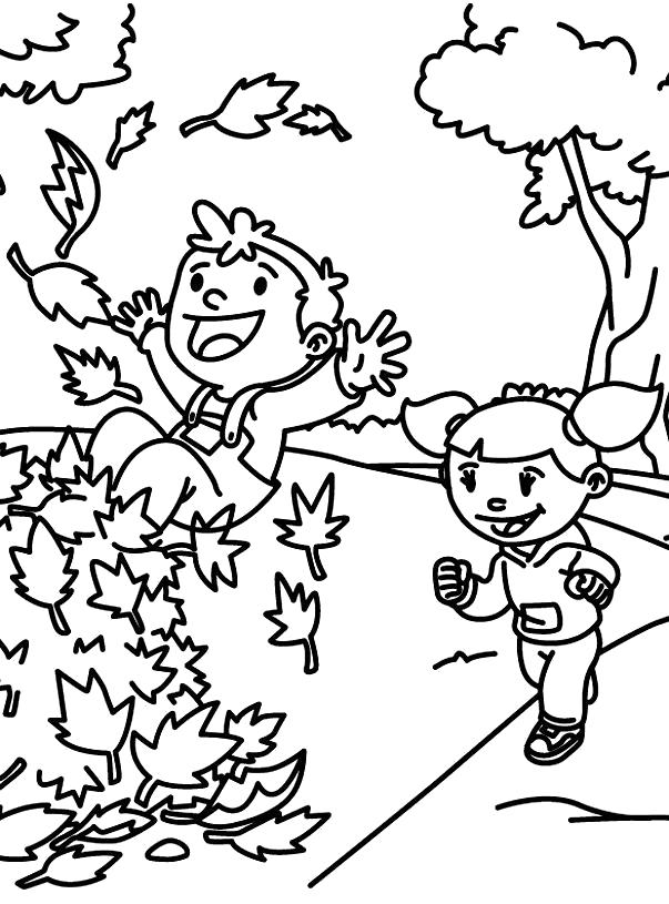 Раскраска Мальчик и девочка играют осенью. Скачать Осень.  Распечатать Времена года