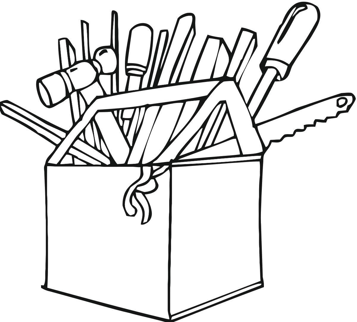Раскраска Коробка инструментов. Скачать .  Распечатать