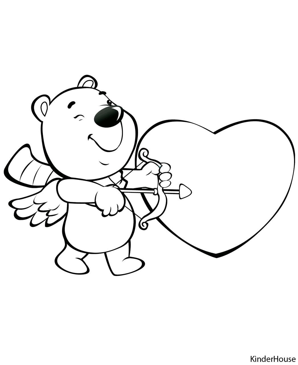 Раскраска Валентинка с мишкой. Скачать день Святого Валентина.  Распечатать день Святого Валентина