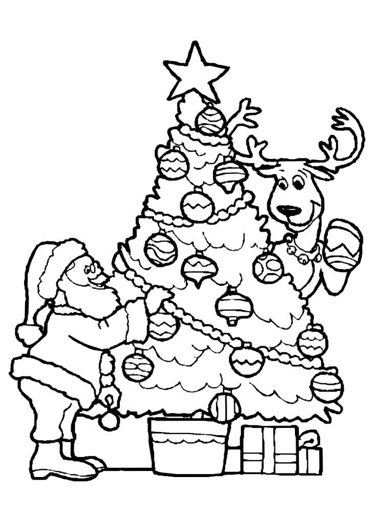 Раскраска Картинки новогодние елки для раскрашивания. Скачать новогодние.  Распечатать новогодние