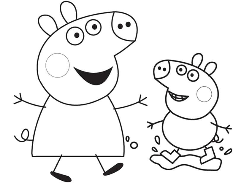 Раскраска Распечатать раскраску Свинка Пеппа радостные дети. Скачать Свинка Пеппа, Джорж.  Распечатать Свинка Пеппа