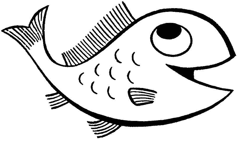 Раскраска Весёлая рыбка. Скачать животных.  Распечатать животных