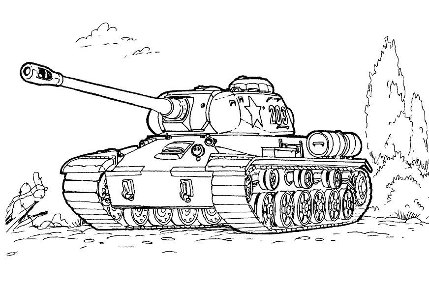 Раскраска Боевой танк. Скачать .  Распечатать