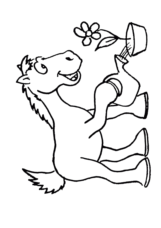 Раскраска  лошадь поливает цветок. Скачать Лошадь.  Распечатать Домашние животные