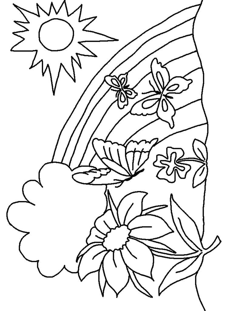 Раскраска Солнышко и радуга а над цветком летают бабочки. Скачать Бабочки.  Распечатать Насекомые