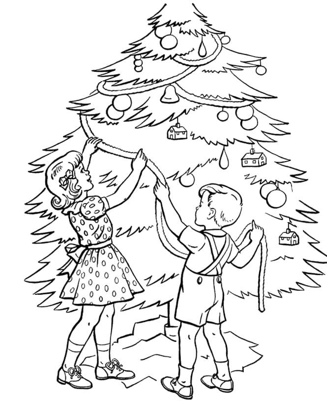 Раскраска Новогодняя елка. . Дети наряжают новогоднюю елку. Скачать Елка.  Распечатать Новый год