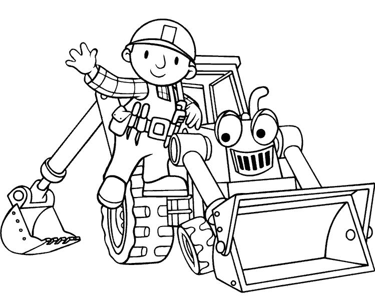 Раскраска Боб и бульдозер. Скачать строительная техника.  Распечатать для мальчиков
