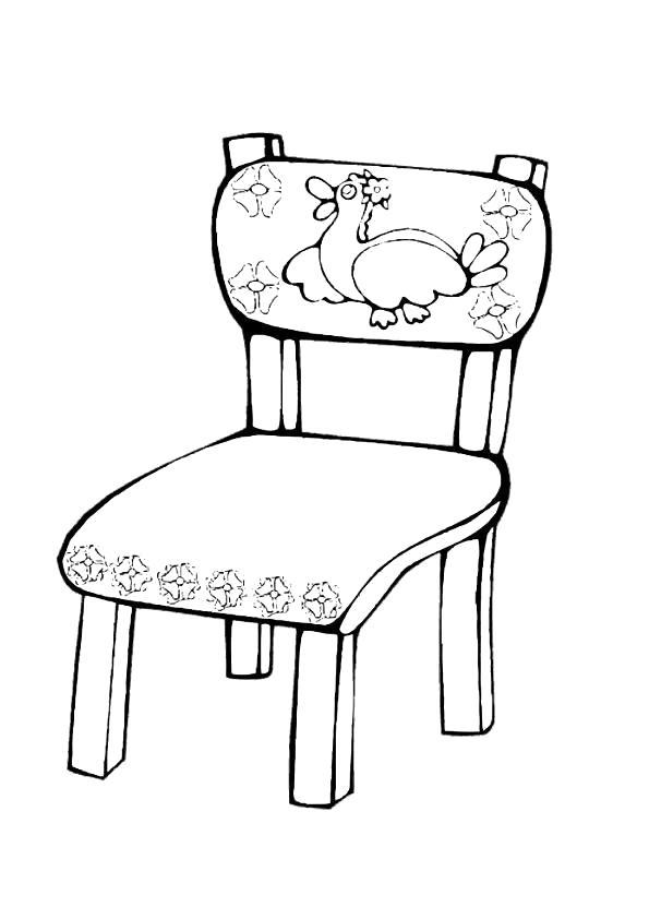 Раскраска  мебель, стул с рисунком. Скачать мебель.  Распечатать мебель