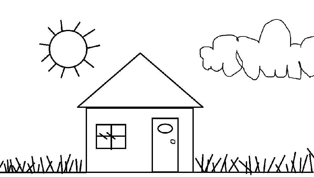 Раскраска дом на поляне. Скачать Дом.  Распечатать Дом
