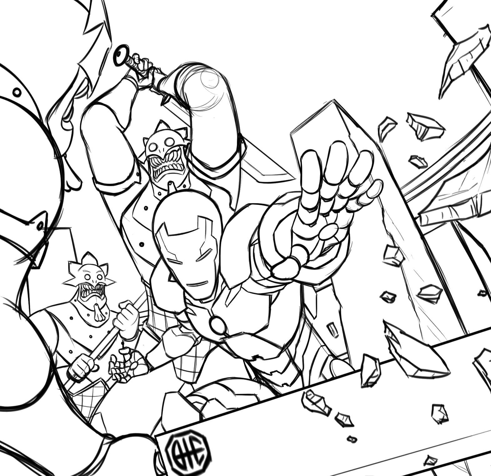 Раскраска  Железный человек сражается. Скачать Железный человек.  Распечатать Комиксы и супергерои