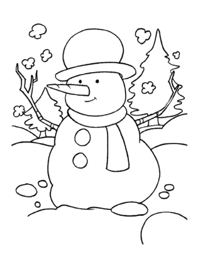 Раскраска Раскрасим снеговика. Скачать снеговик.  Распечатать Зима