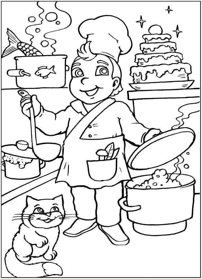 Раскраска повар, повар готовит еду, кошка сидит. Скачать .  Распечатать