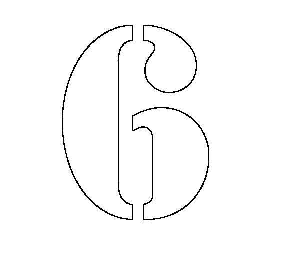 Раскраска  цифры цифра 6 трафарет для вырезания из бумаги. Скачать Трафарет.  Распечатать Трафарет