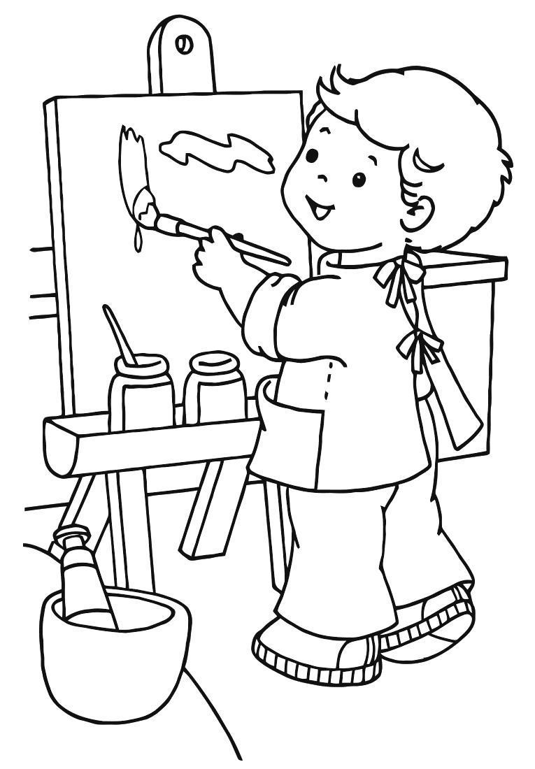 Раскраска мальчик рисует картину. Скачать .  Распечатать