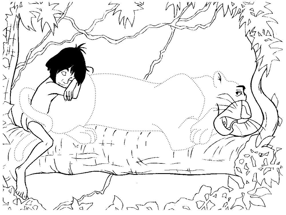 Раскраска Обвести по точкам рисунки с Маугли и раскрасить их. Скачать по точкам.  Распечатать по точкам