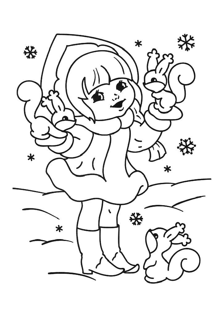 Раскраска Снегурочка с белочками. Скачать новогодние.  Распечатать новогодние