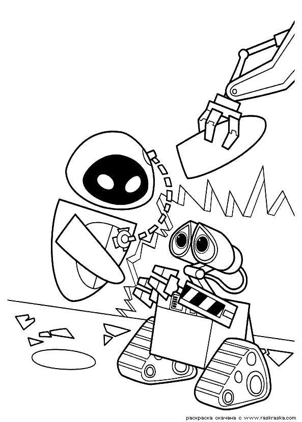 Раскраска  Валли и Ева.   для детей из мультфильма Валли. Скачать .  Распечатать