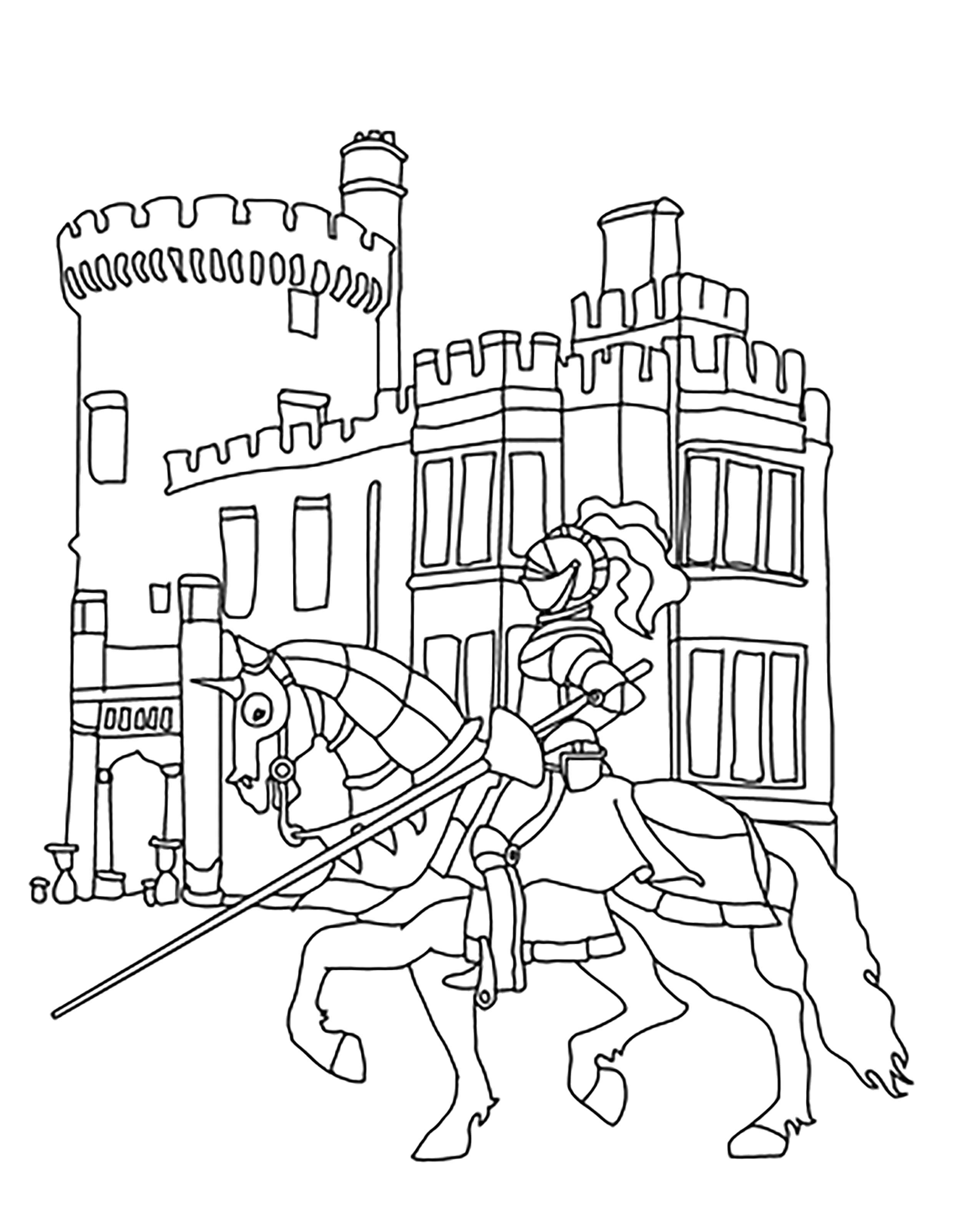 Раскраска замок с рыцарем. Скачать Замок.  Распечатать Замок