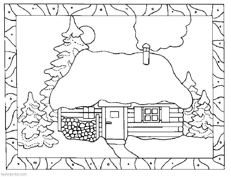 Раскраска Деревенский домик.  для детей. Скачать Дом.  Распечатать Дом