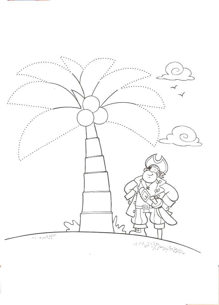 Раскраска Пират на острове. Скачать Пират.  Распечатать Пират
