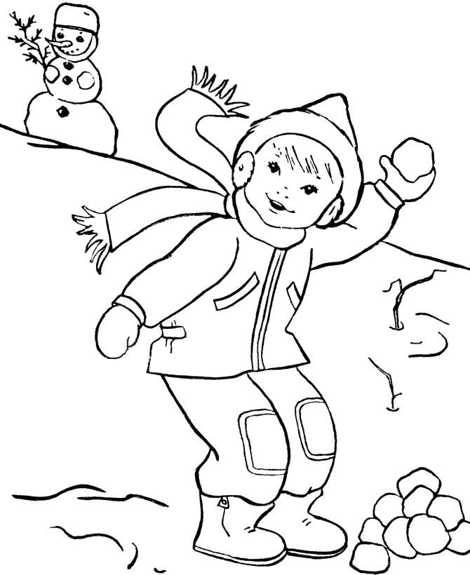 Раскраска мальчик играет в снежки. Скачать снежки.  Распечатать снежки