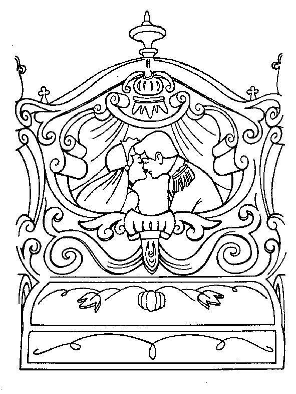 Раскраска  принц увозит Золушку во дворец . Скачать .  Распечатать