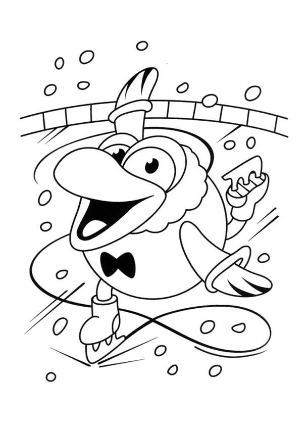 Раскраска  смешарики кар карыч на коньках. Скачать Кар-Карыч.  Распечатать Смешарики