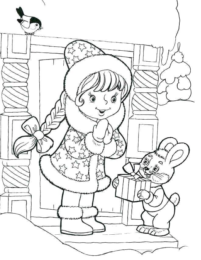 Раскраска Снегурочка подарила подарок зайцу. Скачать Снегурочка.  Распечатать Новый год