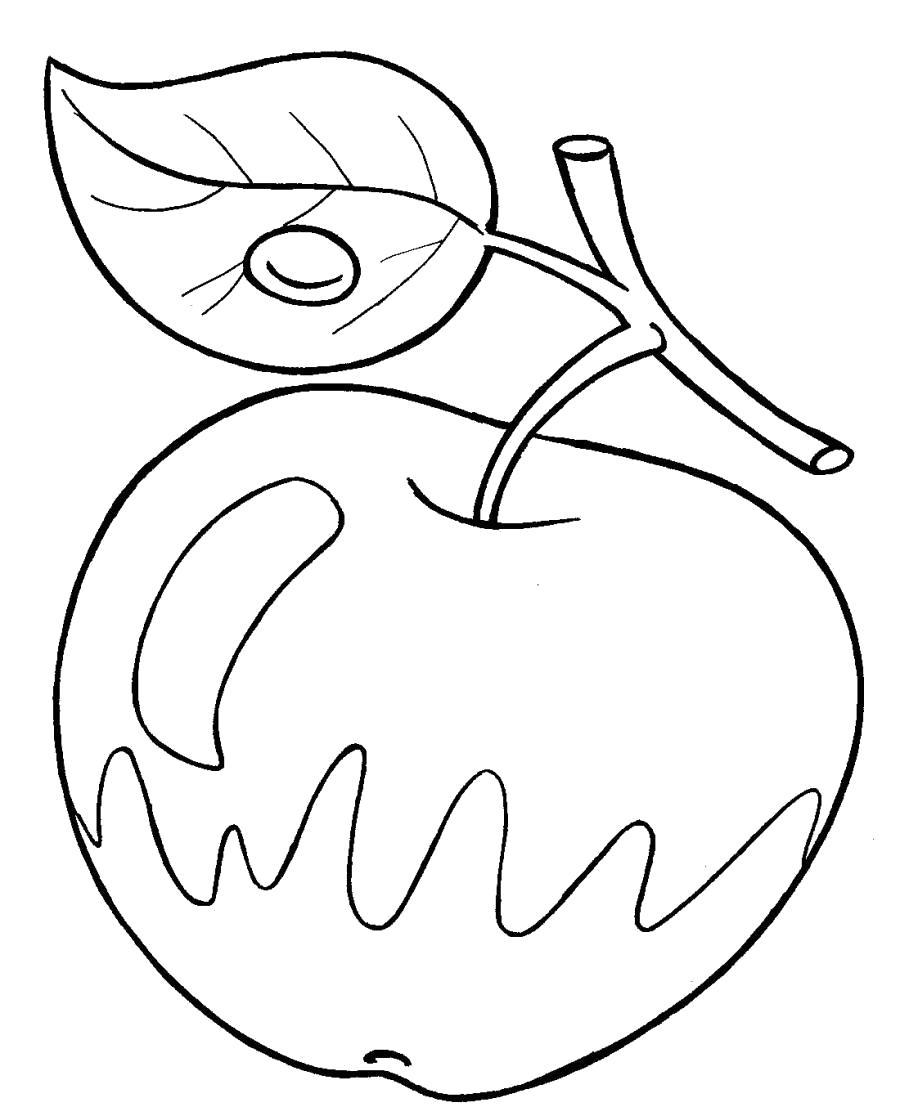 Раскраска Яблоко двухцветное . Скачать яблоко.  Распечатать Фрукты