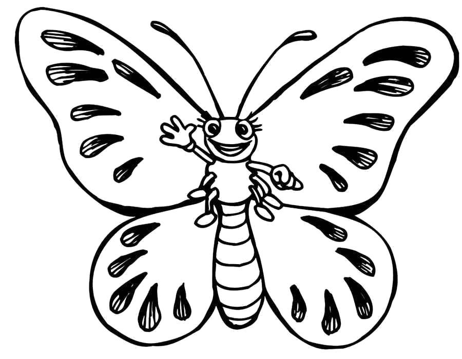 Раскраска Милая бабочка. Скачать .  Распечатать