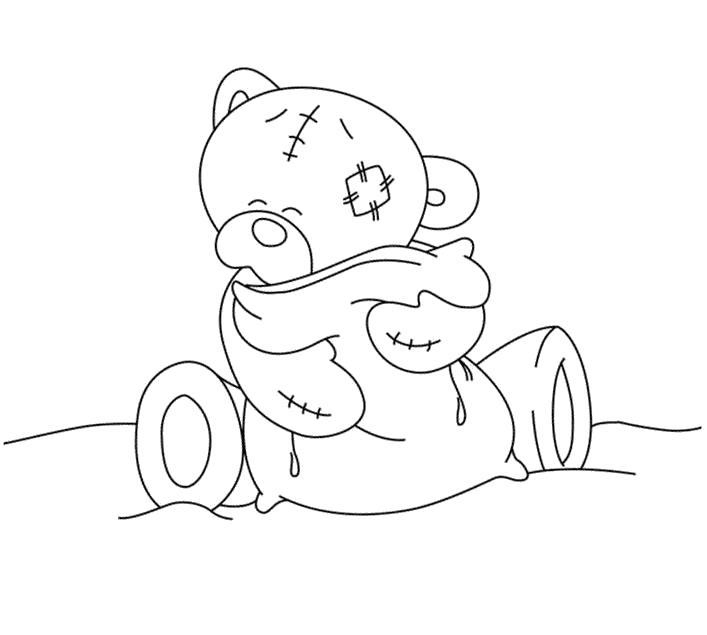 Раскраска  Мишка Тедди с подушечкой. Скачать Тедди.  Распечатать Тедди