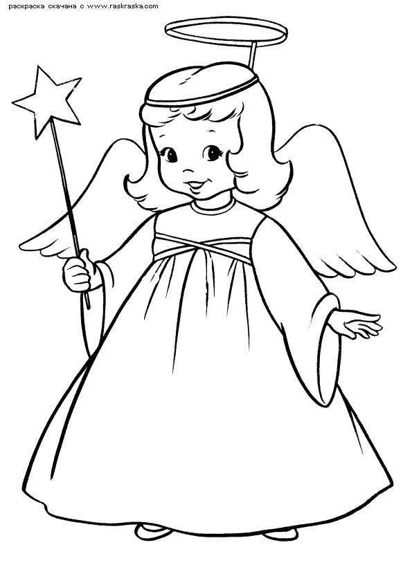 Раскраска  Ангел.  Костюм ангела ,  для детей на новый год, рождество разукраски. Скачать ангел.  Распечатать ангел