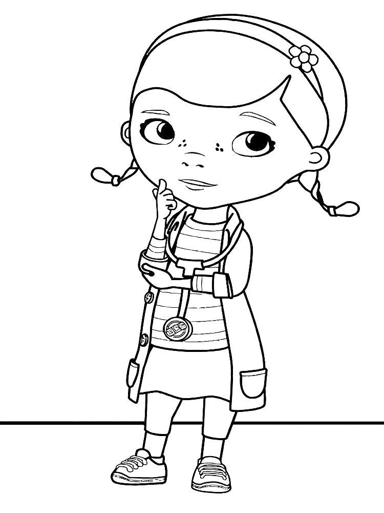Раскраска Картинки Доктор Плюшева для детей. Скачать Доктор.  Распечатать Доктор