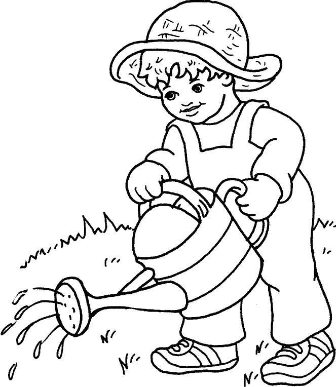 Раскраска мальчик поливает огород, мальчик поливает из лейки. Скачать .  Распечатать