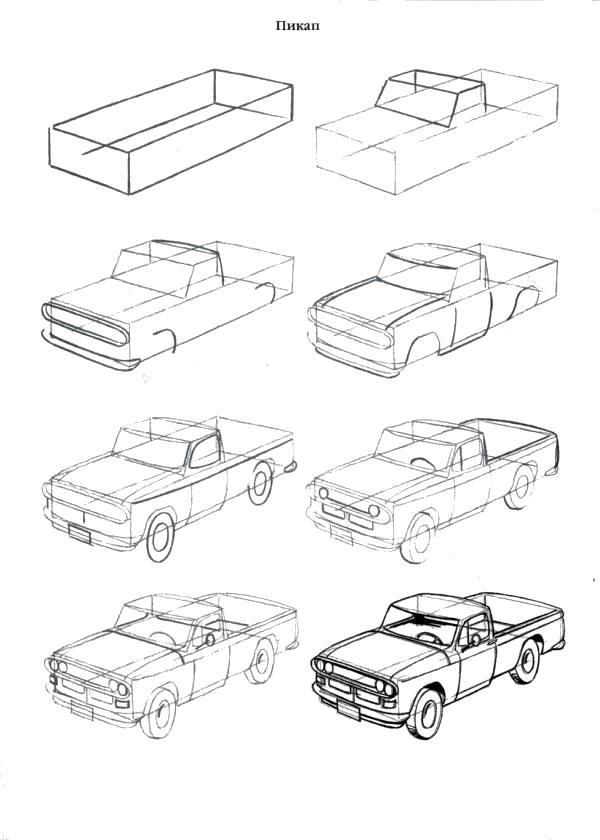 Раскраска  Как нарисовать как нарисовать пикап. Скачать как нарисовать.  Распечатать Учимся рисовать