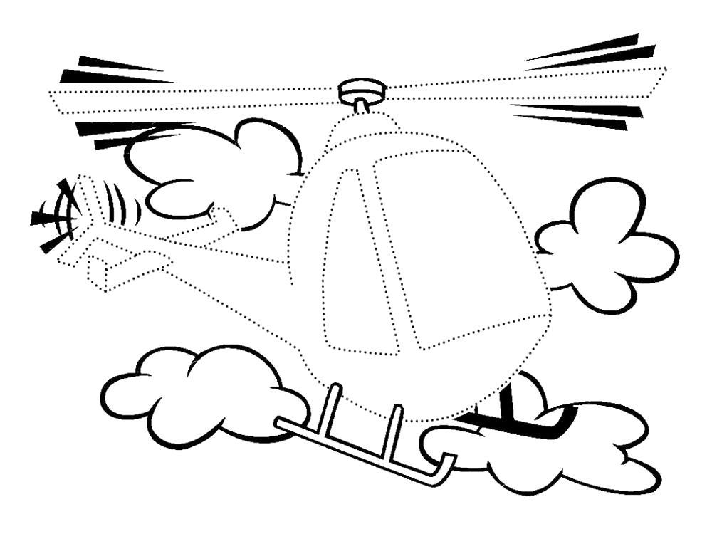Раскраска Обвести по точкам вертолет. Скачать по точкам.  Распечатать по точкам