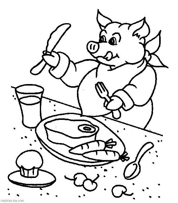 Раскраска Свинья обедает за столом. Скачать Свинья.  Распечатать Домашние животные