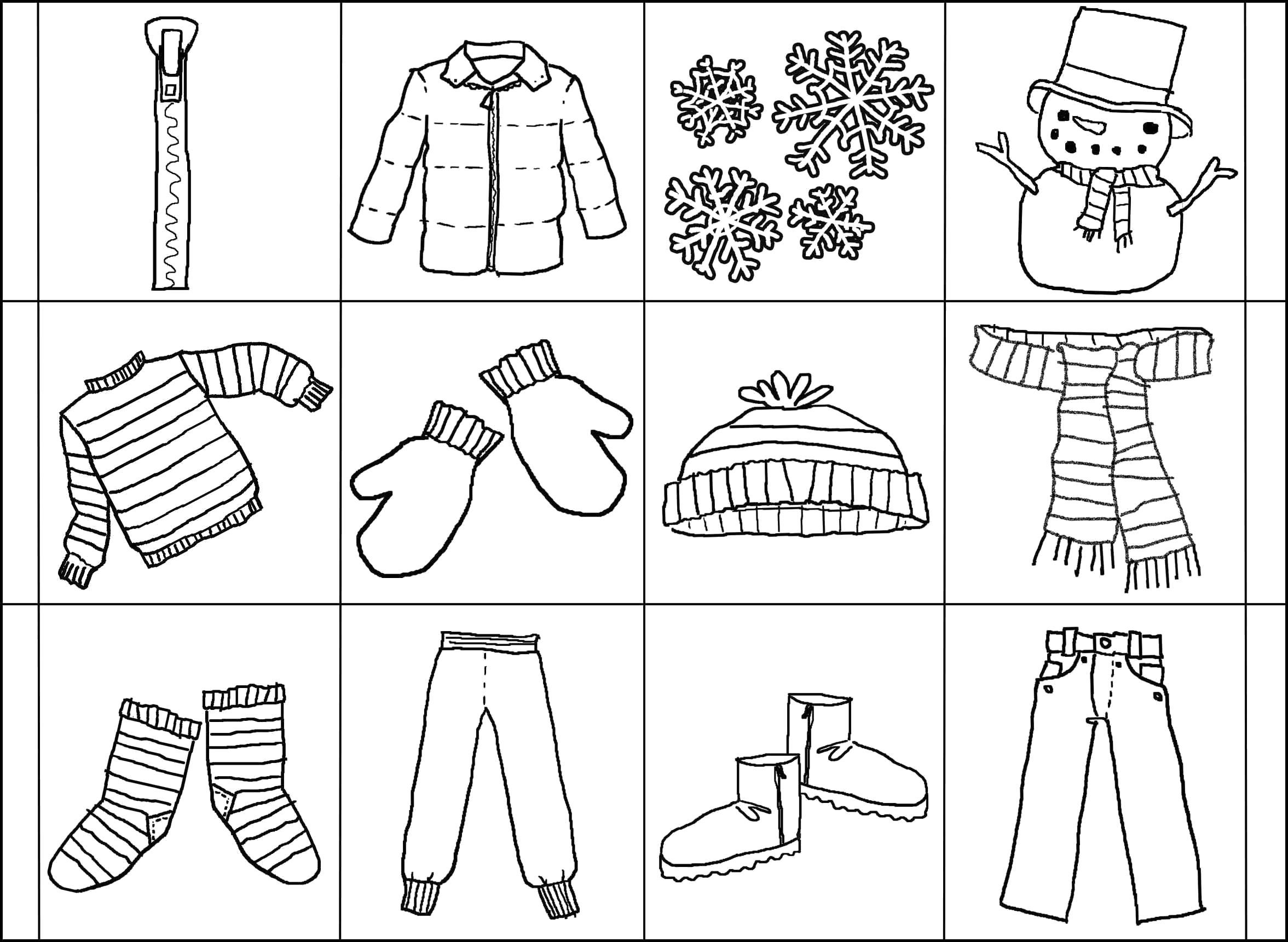 Раскраска  зимняя одежда на карточках. Скачать Зимняя одежда.  Распечатать Зимняя одежда