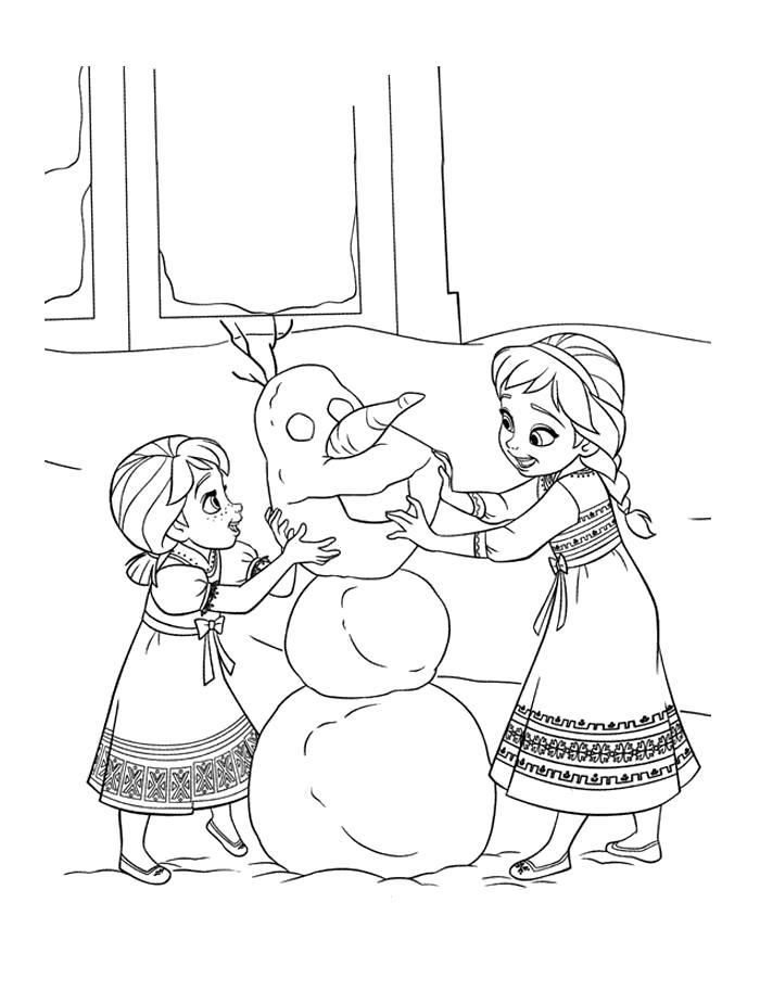 Раскраска анна с эльзой делают снеговика. Скачать снеговик.  Распечатать Зима