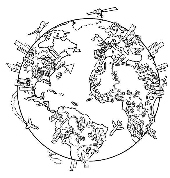 Раскраска земной шар, мир. города на земном шаре. Скачать .  Распечатать