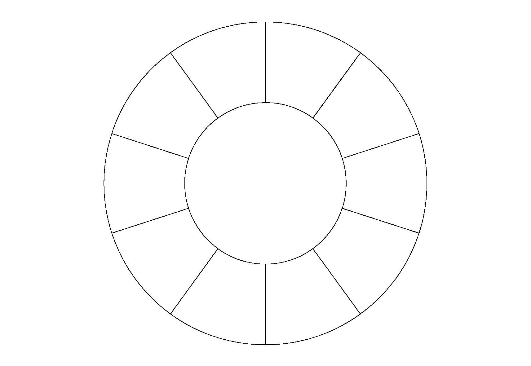 Раскраска Круг с делениями. Скачать .  Распечатать геометрические фигуры