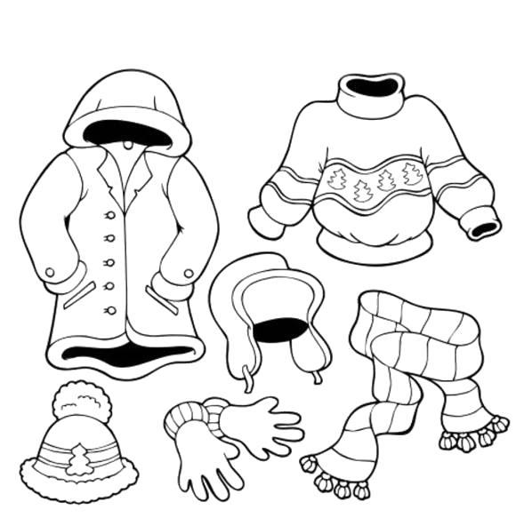 Раскраска  что одеть зимой. Скачать Зимняя одежда.  Распечатать Зимняя одежда